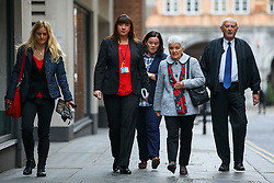 © Licensed to London News Pictures. 17/11/2016. London, UK. Jo Cox's sister Kim Leadbeater (L) and parents Jean and Gordon Leadbeater arrive at The Central Criminal Court on 17 November 2016. Photo credit: Tolga Akmen/LNP