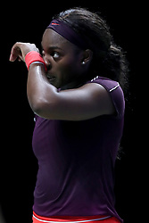 October 28, 2018 - Singapore - Sloane Stephens of the United States reacts to loosing a point during the Singles Championship match between Sloane Stephens and Elina Svitolina on day 8 of the WTA Finals at the Singapore Indoor Stadium. (Credit Image: © Paul Miller/ZUMA Wire)