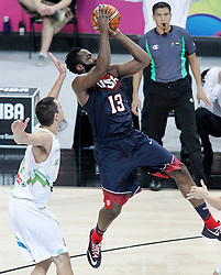 09.09.2014, City Arena, Barcelona, ESP, FIBA WM, Slowenien vs USA, im Bild Slovenia's Jure Balazic (l) and USA's James Harden // during FIBA Basketball World Cup Spain 2014 match between Slovenia and USA at the City Arena in Barcelona, Spain on 2014/09/09. EXPA Pictures © 2014, PhotoCredit: EXPA/ Alterphotos/ Acero<br /> <br /> *****ATTENTION - OUT of ESP, SUI*****