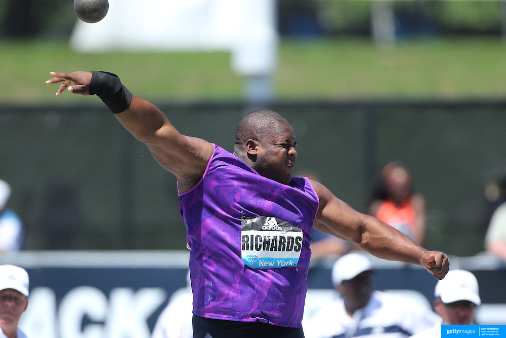 O'Dayne Richards, Jamaica, in action in the Men's Shot Put Competition during the Diamond League Adidas Grand Prix at Icahn Stadium, Randall's Island, Manhattan, New York, USA. 13th June 2015. Photo Tim Clayton