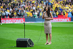 FARYL SMITH OF KETTERING SINGS THE NATIONAL ANTHEM,  Barnsley v Oxford United, Johnstones Paint Trophy Final Wembley Stadium Sunday 3rd April 2016, (Score Barnsley 3, Oxford 2)