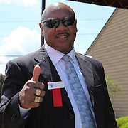 Marvelous Marvin Hagler is seen during the 2013 International Boxing Hall of Fame induction ceremony on Sunday, June 9, 2013 in Canastota, New York.  (AP Photo/Alex Menendez)