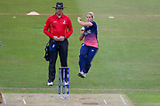 England womens cricket player Katherine Brunt comes in to bowl during the ICC Women's World Cup match between England and Pakistan at the Fischer County Ground, Grace Road, Leicester, United Kingdom on 27 June 2017. Photo by Simon Davies.