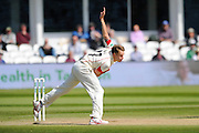 Lancashire's Kyle Jarvis during the Specsavers County Champ Div 1 match between Somerset County Cricket Club and Lancashire County Cricket Club at the County Ground, Taunton, United Kingdom on 4 May 2016. Photo by Graham Hunt.