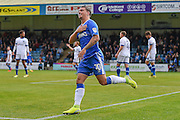 Gillingham forward Cody MacDonald (10) celebrates scoring (1-0) during the EFL Sky Bet League 1 match between Gillingham and Oldham Athletic at the MEMS Priestfield Stadium, Gillingham, England on 8 October 2016. Photo by Martin Cole.