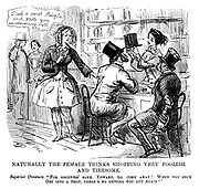"""The Ladies of the Creation; Or, how I was cured of being a strong-minded woman. Naturally the female thinks shopping very foolish and tiresome. Superior creature. """"For goodness' sake, Edward, do come away! When you once get into a shop, there's no getting you out again!"""""""