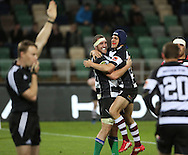 Hawkes Bay's Dan Waenga's (blue head gear) celebrates his match winning try with Michael Coman in the ITM Cup rugby match between Hawkes Bay and Counties Manakau played at McLean Park, Napier, New Zealand. Friday 31 August 2012. Photo: John Cowpland / photosport.co.nz
