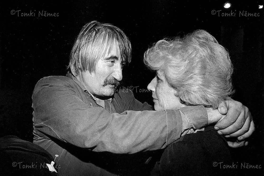 Olga Havel - first wife of Vaclav Havel with her friend-actor Pavel Landovsky.