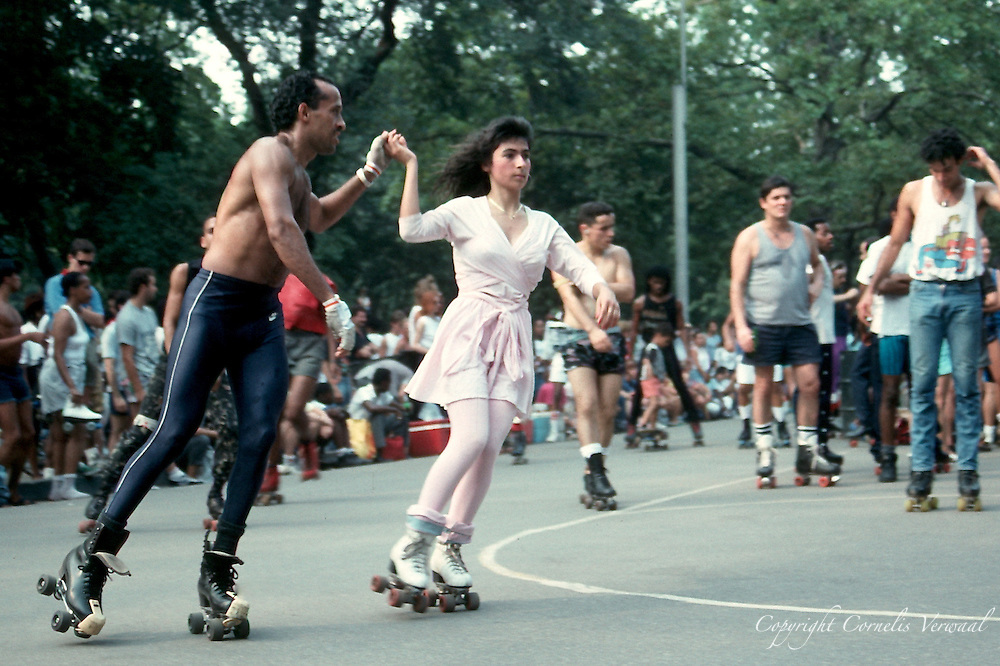 1988 style old-fashioned roller disco in Central Park, New York City.