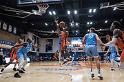 Cal State Fullerton Titans guard Austen Awosika (10) scores on a layup against the San Diego Toreros during an NCAA basketball game, Wednesday, Dec. 11, 2019, in Fullerton, Calif. San Diego defeated CSUF 66-54. (Jon Endow/Image of Sport)