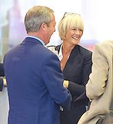 Andrew Marr Show arrivals <br /> at BBC Broadcasting House, London, Great Britain <br /> 18th September 2016 <br /> <br /> <br /> Nigel Farage MEP <br /> ex-leader of UKIP <br /> <br /> Jane Moore - columnist for the Sun <br /> <br /> <br /> <br /> <br /> Photograph by Elliott Franks <br /> Image licensed to Elliott Franks Photography Services