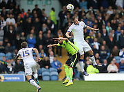 Leeds United striker Chris Wood (9) heads during the Sky Bet Championship match between Leeds United and Brighton and Hove Albion at Elland Road, Leeds, England on 17 October 2015.