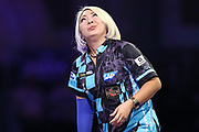 Mikuru Suzuki reaction after missing a dart at a double during the PDC William Hill World Darts Championship at Alexandra Palace, London, United Kingdom on 15 December 2019.