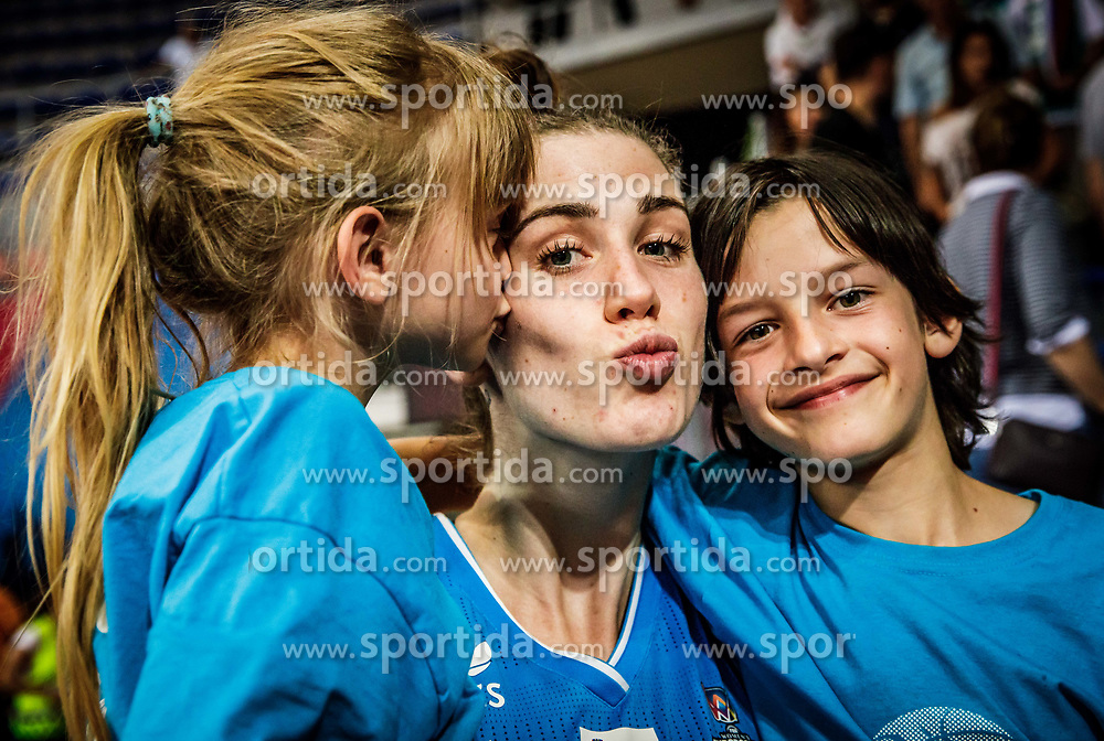 Eva Lisec of Slovenia with her niece  after the basketball match between Women National teams of Italy and Slovenia in Group phase of Women's Eurobasket 2019, on June 30, 2019 in Sports Center Cair, Nis, Serbia. Photo by Vid Ponikvar / Sportida