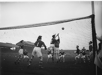 All Ireland Senior Football Final Replay. Meath v Cavan..Action on the pitch..Winners - Cavan 0.9 - 0.5..12.10.1952  12th October 1952S. .Morris, J. McCabe, P. Brady, D. Maguire, P. Carolan, L. Maguire, B. O'Reilly, V. Sherlock, T. Hardy, S. Hetherton, M. Higgins (Captain), E. Carolan, J. J. Cassidy, A. Tighe, J. Cusack. Note: P. Fitzsimons played in drawn game. J. Cusack came on for replay. P. Fitzsimmons was introduced as Sub for J. J. Cassidy in replay.