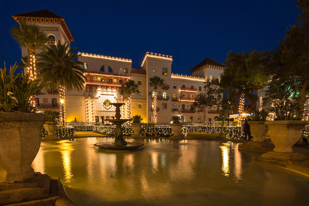 Casa Monica Hotel at dusk during St. Augustine's annual Nights of Light display