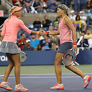 Andrea Hlavackova, (left) and Lucie Hradecka, Czech Republic, winning the Women's Doubles Final at the US Open. Flushing. New York, USA. 7th September 2013. Photo Tim Clayton