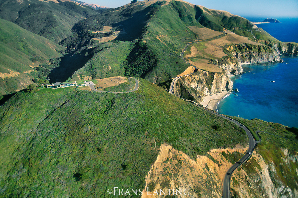 Private home on ridge overlooking Hwy 1 (aerial), Big Sur, California