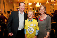 Alan Johnston Eason Marketing manager with James Devaney St Patrick's National  Calry, Sligo, and St Patricks National School teacher Deirdre Moylan at the Eason Spelling Bee in the Hotel Meyrick, Galway from where Ryan Tubridy's  show was broadcast . Photo:Andrew Downes..