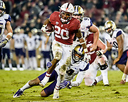 Bryce Love ran for 166 yards and three touchdowns against the nation's stingiest defense, leading Stanford to a 30-22 victory over No. 9 Washington on Friday night.<br /> <br /> Photo: Alika Jenner