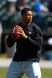 Oct 2, 2011; Oakland, CA, USA; Oakland Raiders quarterback Jason Campbell (8) warms up before the game against the New England Patriots at O.co Coliseum. New England defeated Oakland 31-19. Mandatory Credit: Jason O. Watson-US PRESSWIRE