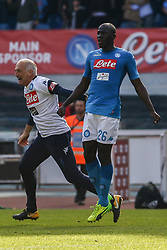 April 8, 2018 - Naples, Italy - Kalidou Koulibaly (SSC Napoli)..during the Italian Serie A football SSC Napoli v Chievo Verona at S. Paolo Stadium..in Naples on April 08, 2018  (Credit Image: © Paolo Manzo/NurPhoto via ZUMA Press)