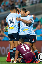March 9, 2019 - Sydney, NSW, U.S. - SYDNEY, NSW - MARCH 09: Waratahs players celebrate the try of Curtis Rona (11) at round 4 of Super Rugby between NSW Waratahs and Queensland Reds on March 09, 2019 at The Sydney Cricket Ground, NSW. (Photo by Speed Media/Icon Sportswire) (Credit Image: © Speed Media/Icon SMI via ZUMA Press)