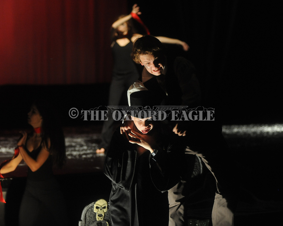 """Oxford High School students rehearse their production of """"Scream"""" in Oxford, Miss. on Wednesday, October 26, 2011."""
