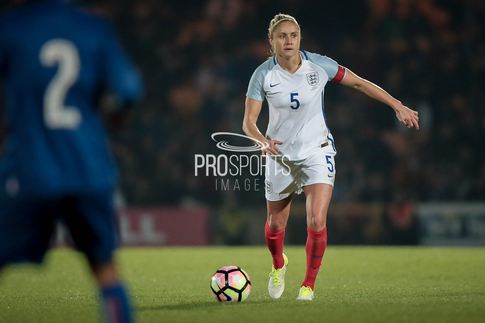 Steph Houghton (Captain) (England) (Manchester City) looks up for a pass forward into the Italy Ladies penalty box during the Women's International Friendly match between England Ladies and Italy Women at Vale Park, Burslem, England on 7 April 2017. Photo by Mark P Doherty.