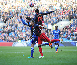 Reading's Nathaniel Chalobah wins a high ball. - Photo mandatory by-line: Alex James/JMP - Mobile: 07966 386802 - 24/01/2015 - SPORT - Football - Cardiff - Cardiff City Stadium - Cardiff City v Reading - FA Cup Fourth Round