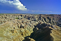 Eroded landscape as seen from the Gullies Cverlook.  Badlands National Park, South Dakota.