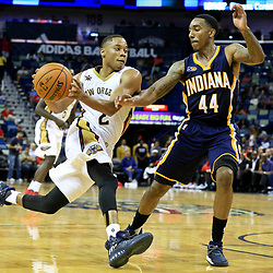 Oct 4, 2016; New Orleans, LA, USA;  New Orleans Pelicans guard Tim Frazier (2) drives past Indiana Pacers guard Jeff Teague (44) during the second half of a game at the Smoothie King Center. The Pacers defeated the Pelicans 113-96. Mandatory Credit: Derick E. Hingle-USA TODAY Sports