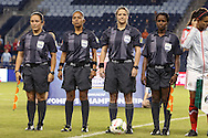 16 October 2014: Match officials. From left: Assistant referee Marlene Duffy (USA), Fourth official Tatiana Guzman (NCA), Referee Carol-Anne Chenard (CAN), and Assistant referee Milagros Leonardo (DOM). The Mexico Women's National Team played the Costa Rica Women's National Team at Sporting Park in Kansas City, Kansas in a 2014 CONCACAF Women's Championship Group B game, which serves as a qualifying tournament for the 2015 FIFA Women's World Cup in Canada. Costa Rica won the game 1-0.
