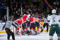 KELOWNA, CANADA - DECEMBER 6: The Kelowna Rockets and the Everett Silvertips get tangled in front of the net after the referee calls a goal for the Everett Silvertips on December 6, 2013 at Prospera Place in Kelowna, British Columbia, Canada.   (Photo by Marissa Baecker/Shoot the Breeze)  ***  Local Caption  ***