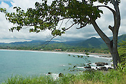 View to the seaside with the black volcanic lava beach in Jaco, Costa Rica.