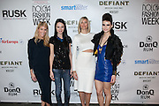 Guest, Leka,  Kristen Taekman and model from Leka's show. Nolcha Fashion Week New York Fall-Winter 2014. Nolcha Fashion Week New York is a leading award winning event, held during New York Fashion Week, for independent fashion designers to showcase their collections to a global audience of press, retailers, stylists and industry influencers. Over the past six years Nolcha Fashion Week: New York has established itself as a platform of discovery promoting innovative fashion designers through runway shows and exhibition. Nolcha Fashion Week: New York has built an acclaimed reputation as a hot incubator of new fashion design talent and is officially listed by New York City Economic Development Corporation; offering a range of cost effective options to increase designers recognition and develop their business. (Photo: www.JeffreyHolmes.com)