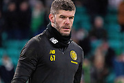 Warm up completed, Fraser Forster of Celtic FC heads back to the changing room ahead of the Europa League match between Celtic and FC Copenhagen at Celtic Park, Glasgow, Scotland on 27 February 2020.