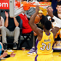 28 February 2017: Los Angeles Lakers forward Julius Randle (30) dunks the ball during the Charlotte Hornets 109-104 victory over the LA Lakers, at the Staples Center, Los Angeles, California, USA.