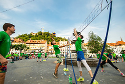 EuroVolley trophy revealed in Ljubljana with 99 days to go and 99 Mini Volleyball courts were available in Ljubljana downtown to promote the CEV EuroVolley 2019 Men, on June 5th, 2019, in front of the Town Hall, Ljubljana, Slovenia. Photo by Vid Ponikvar / Sportida