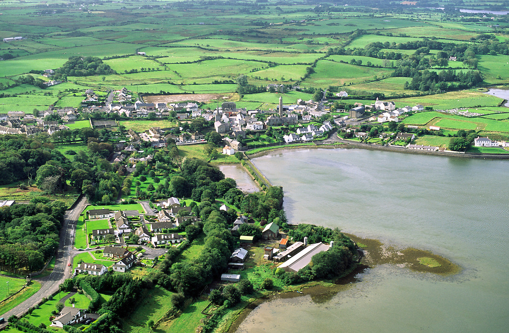 Aerial view of coastal village of Killala, County Mayo, Ireland.