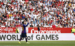 February 23, 2019 - Seville, Madrid, Spain - Lionel Messi (FC Barcelona) seen celebrating after scoring a goal during the La Liga match between Sevilla FC and Futbol Club Barcelona at Estadio Sanchez Pizjuan in Seville, Spain. (Credit Image: © Manu Reino/SOPA Images via ZUMA Wire)