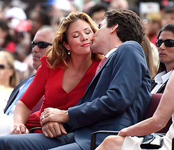 Prime Minister Justin Trudeau gives his wife Sophie Gregoire Trudeau a kiss during the Canada Day noon hour entertainment on Parliament Hill, in Ottawa on Friday, July 1, 2016. Photo by Justin Tan/CP/ABACAPRESS.COM    553804_001 Ottawa Canada