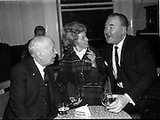 "Mr and Mrs Jimmy O'Dea..1963..10.12.1963..12.10.1963..10th December 1963..Pictured at the opening of ""The Ha'Penny Inn"" on Wellington Quay, Dublin were famed actor and entertainer Mr Jimmy O'Dea and his wife Ursula. The Inn is owned by the renowned singer Mr Josef Locke ,who is included in the picture."