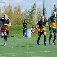 Tove Werner in action for the University of Regina Cougars Women's Soccer Team.