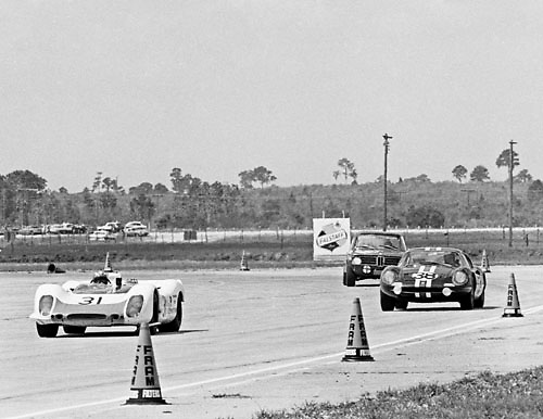 Race action during 1969 Sebring 12 Hour race; PHOTO BY Pete Lyons 1969 / www.petelyons.com