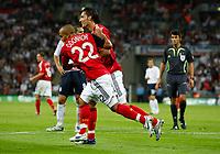Photo: Richard Lane/Sportsbeat Images.<br />England v Germany. International Friendly. 22/08/2007. <br />Germany's Kevin Kuranyi celebrates scoring their first goal.