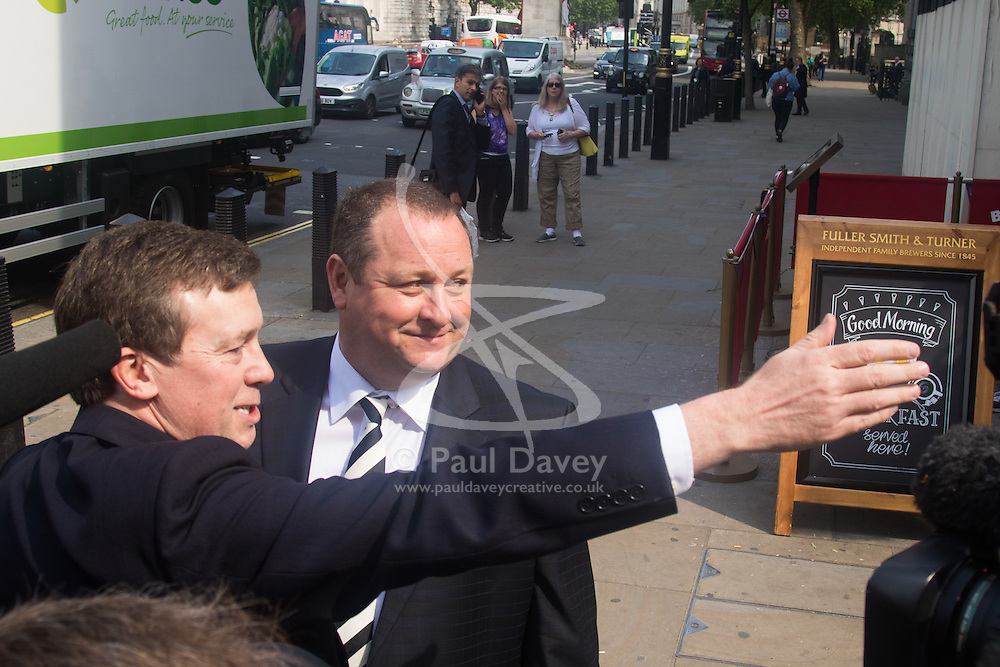 Portcullis House, Westminster, London. Sports Direct and Newcastle United owner Mike Ashley leaves Westminster's Red Lion pub next door to Portcullis House before appearing in front of the Business, Innovation and Skills select committee, where he is to be questioned about working practices at his firm's distribution centre in Derbyshire.