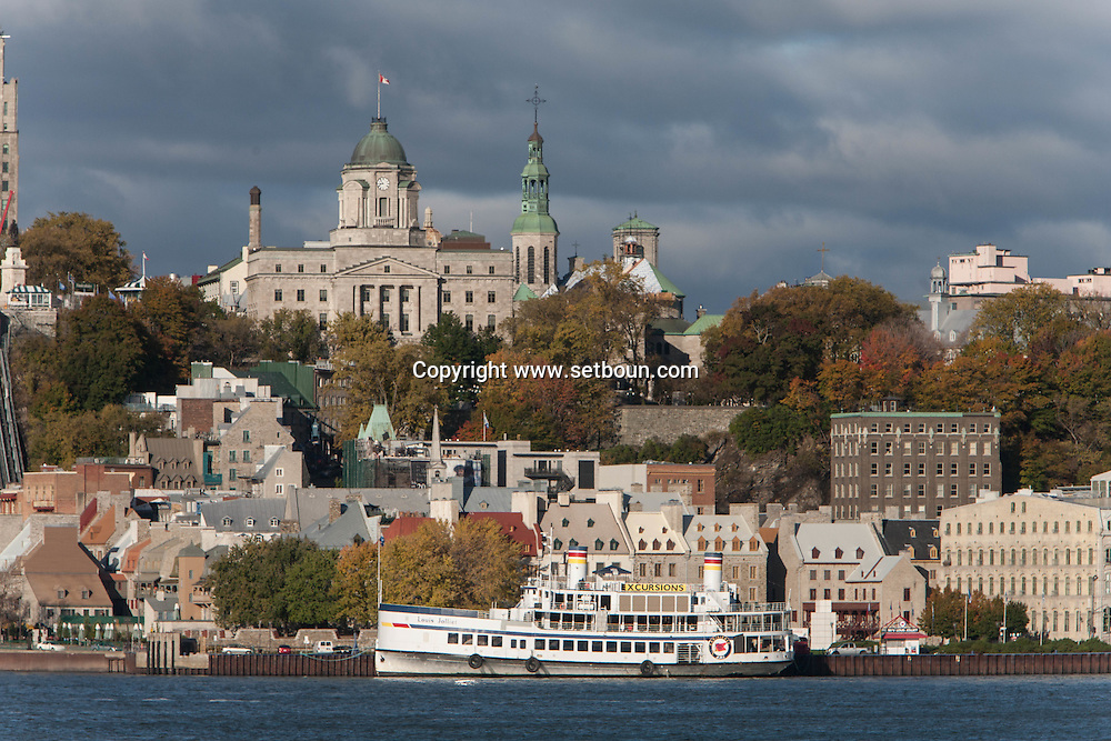 Canada. Quebec. the vieux Quebec, old city, view from Saint Laurent river on the ferry boat traversier.   / la vielle ville vue depuis le  traversier ferry sur le Fleuve Saint Laurant