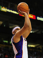 Apr. 11, 2011; Phoenix, AZ, USA; Phoenix Suns forward Jared Dudley (3) puts up a basket against the Minnesota Timberwolves at the US Airways Center. The Suns defeated the Timberwolves 135 -127 in overtime. Mandatory Credit: Jennifer Stewart-US PRESSWIRE