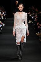 Angel Rutledge (The Lions) walks the runway wearing Altuzarra Fall 2015 during Mercedes-Benz Fashion Week in New York on February 14, 2015